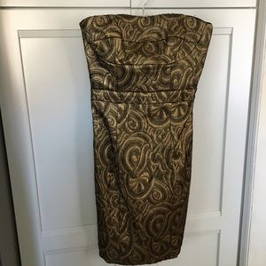 Nicole Miller Gold Holiday Strapless  Dress